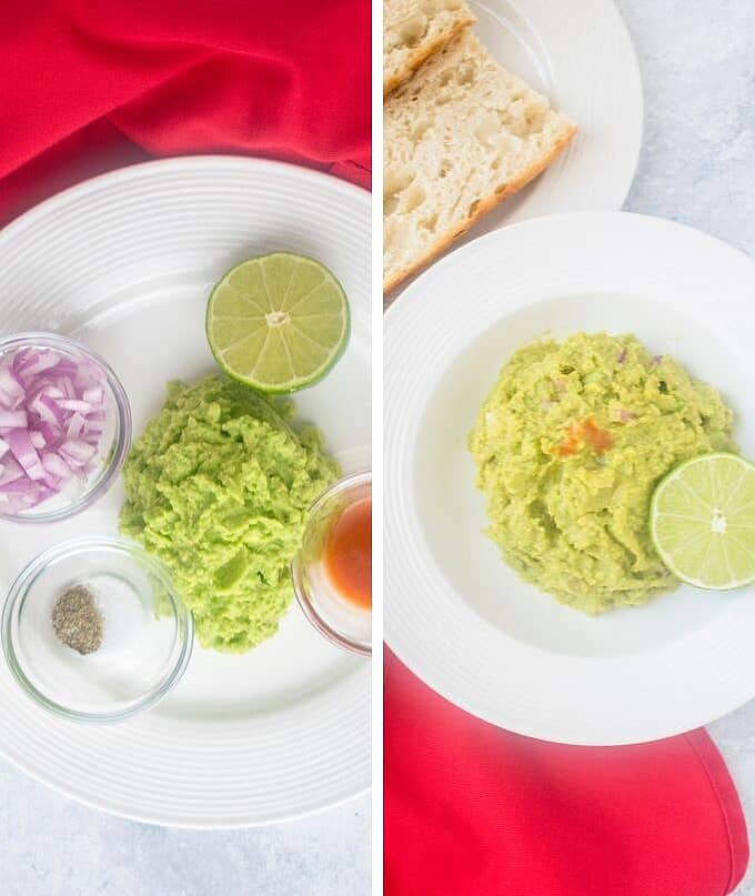 guacamole ingredients, guacamole and lime with toasted baguette