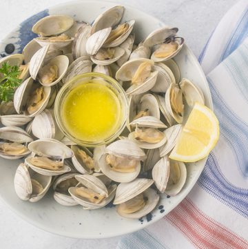 bowl of steamed littleck clams with lemon and melted butter