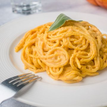 Plate of linguine with pumpkin pasta sauce