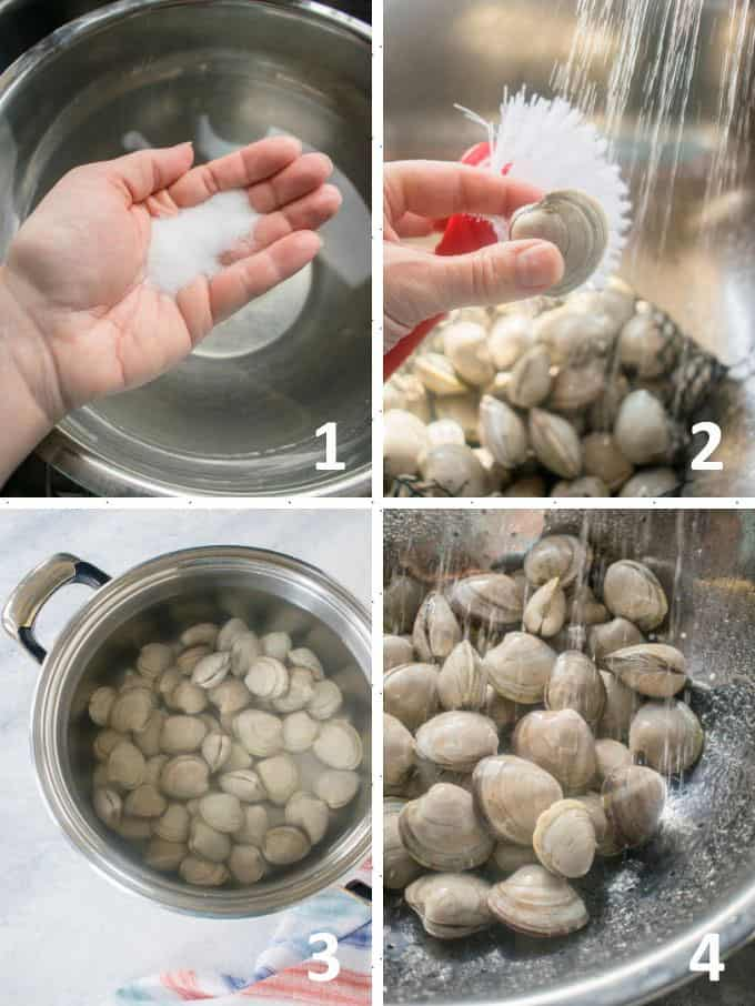 handful of salt, scrub brush with clam under water, clams soaking, rinsing littleneck clams