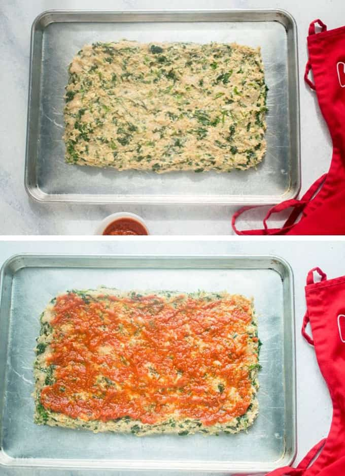 raw Italian meatloaf in pan, raw meatloaf with marinara in pan