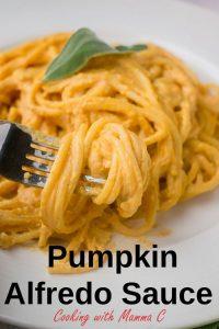 liquine twirled on fork with pumpkin alfredo sauce