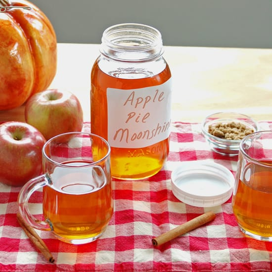 mason jar of cider, glass mugs of cider, cinnamon, apples, pumpkin