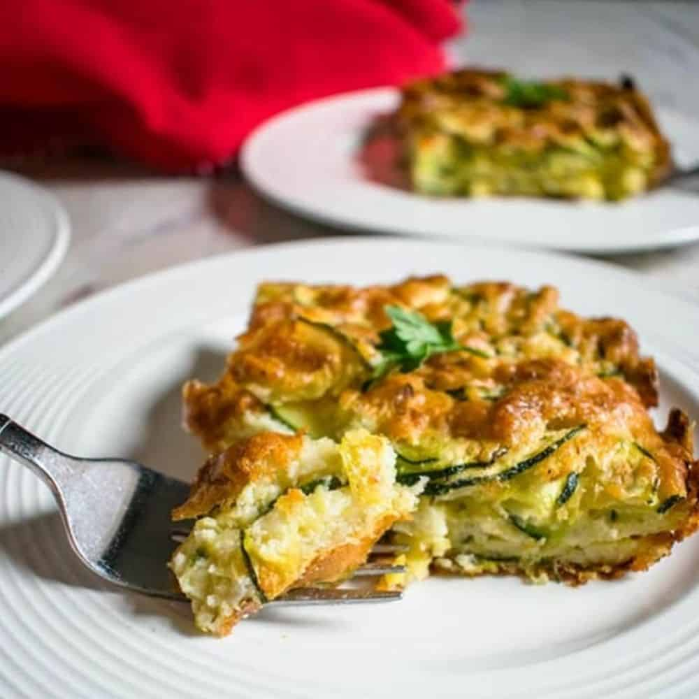 forkful of zucchini casserole