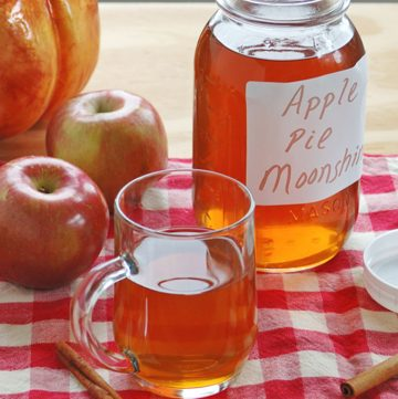 mason jar and glass mug of apple pie moonshine, apples