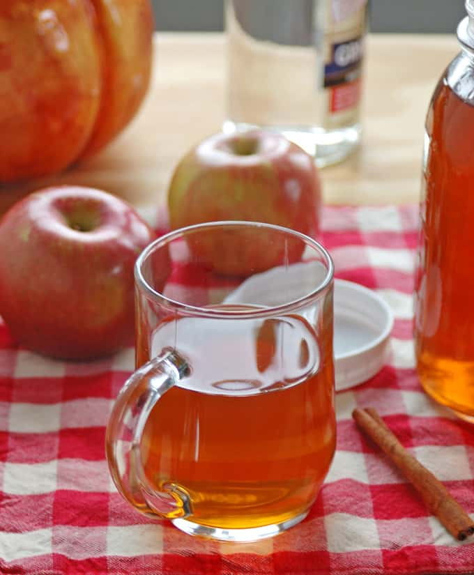 glass mug of apple pie moonshine, apples, cinnamon stick
