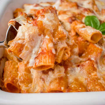 A close up of a plate of food with a slice of pizza, with Pasta and Rigatoni