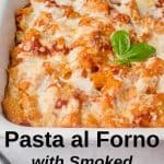 pan of pasta al forno with basil