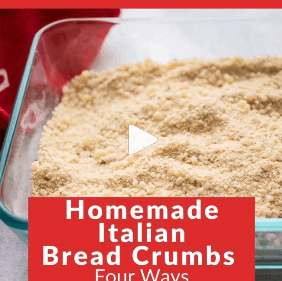 glass pan of bread crumbs