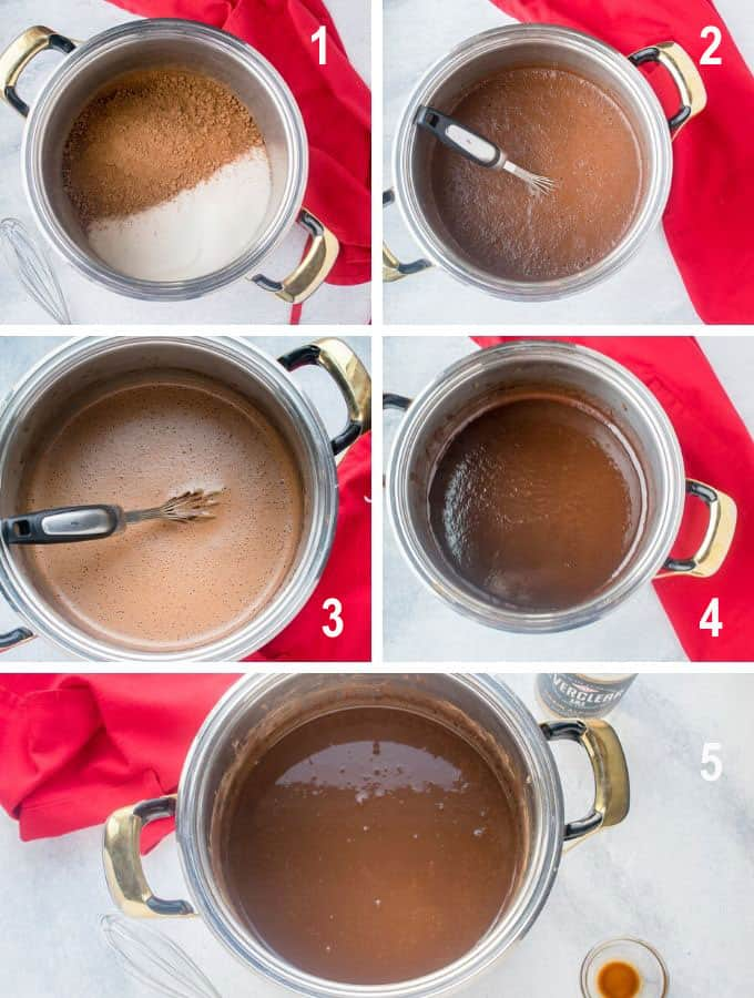 pot with cocoa and sugar, chocolate mixture in stages