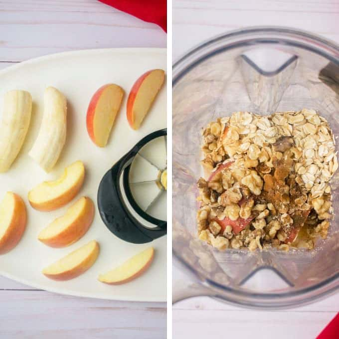 banana halves, apple wedges, apple corer, blender with oats, walnuts, apples, spices