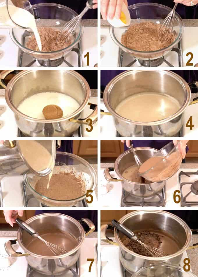 collage of steps to make chocolate pudding
