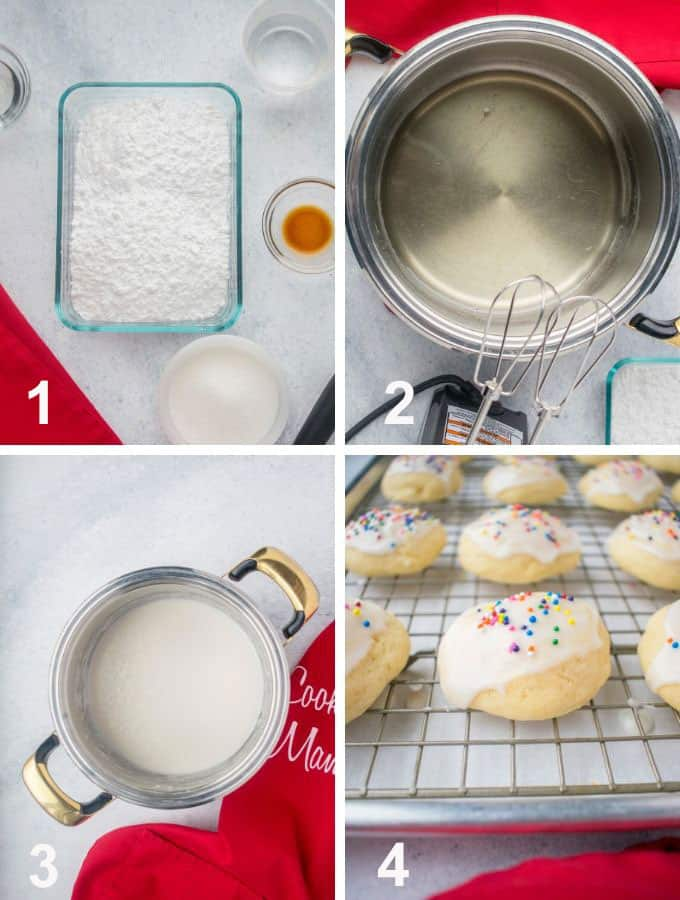 glaze ingredients, pot with clear syrup, pot of glaze, glazed cookies with sprinkles