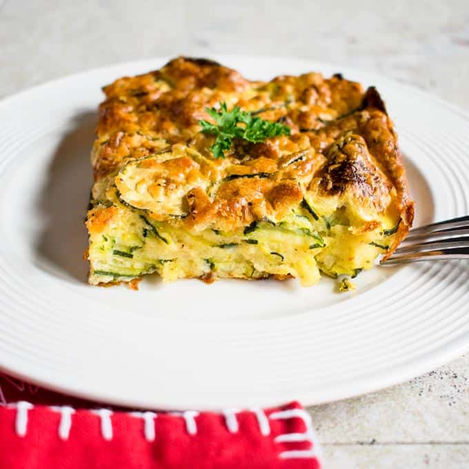 slice of zucchini casserole on plate