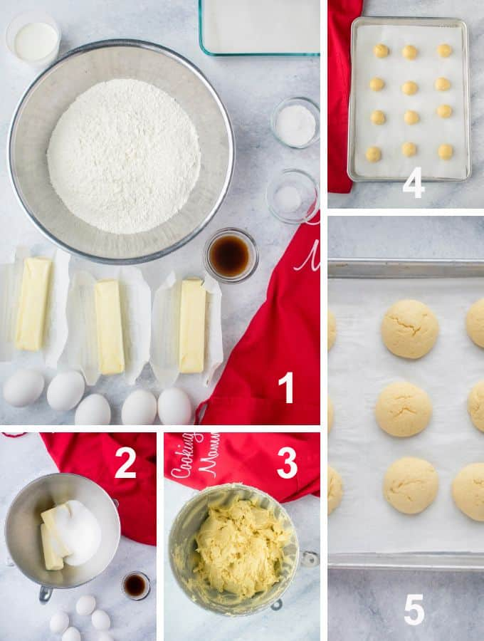 ingredients, cookie dough, dough balls, baked cookies