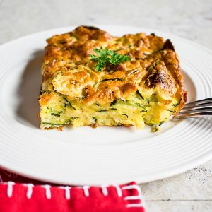 portion of zucchini casserole on plate