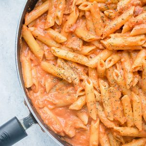 pan of pasta with vodka sauce