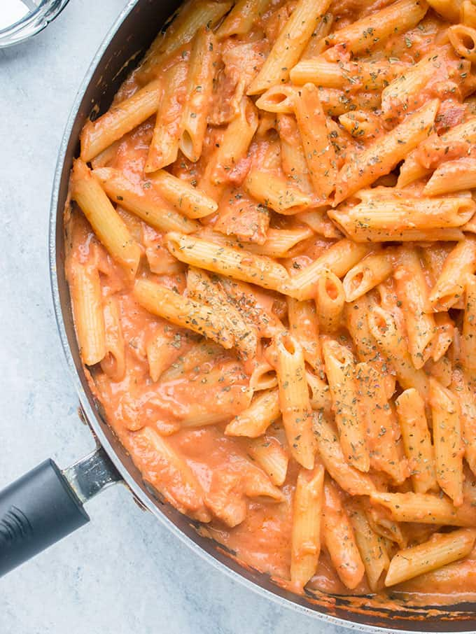 pan of pasta with pink sauce