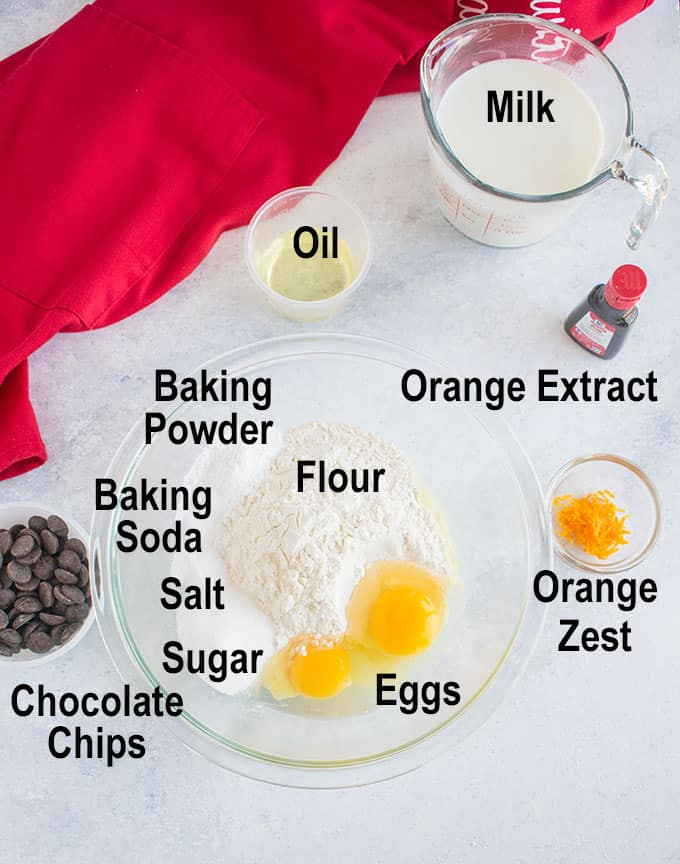 flour, eggs, chocolate chips, oil, milk, zest, extract