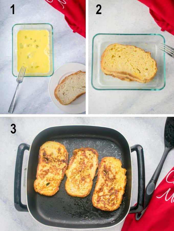 beaten eggs, soaked bread, French Toast in pan