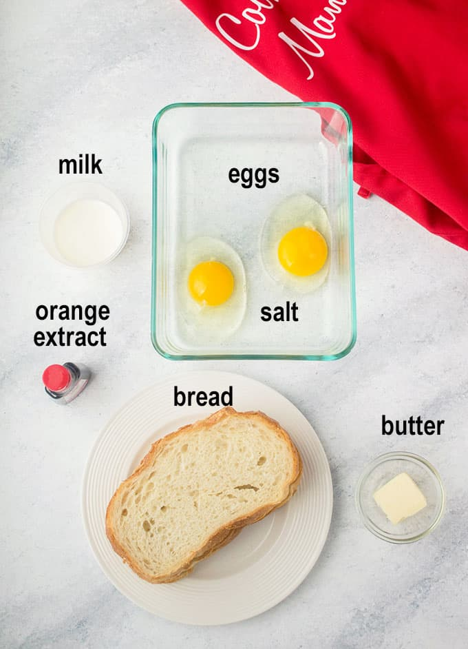 eggs, milk, bread, butter, extract