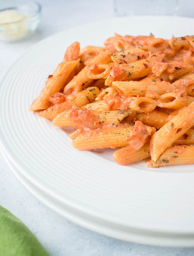plate of pasta with creamy tomato sauce