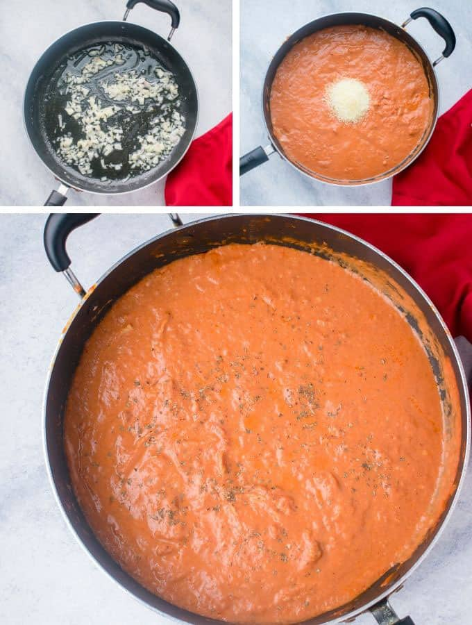chopped shallots, pan with vodka sauce and cheese, pan of vodka sauce
