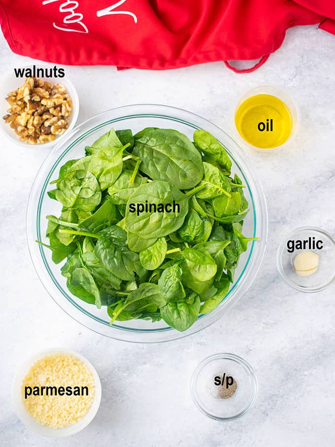 spinach leaves, walnuts, oil, cheese