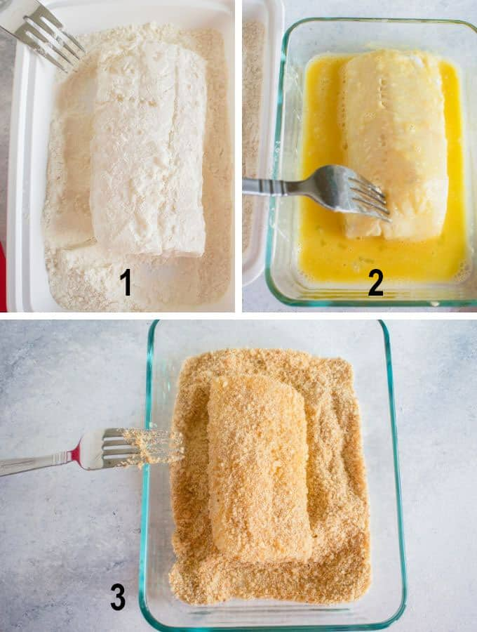 fish dipped in flour, egg, bread crumbs