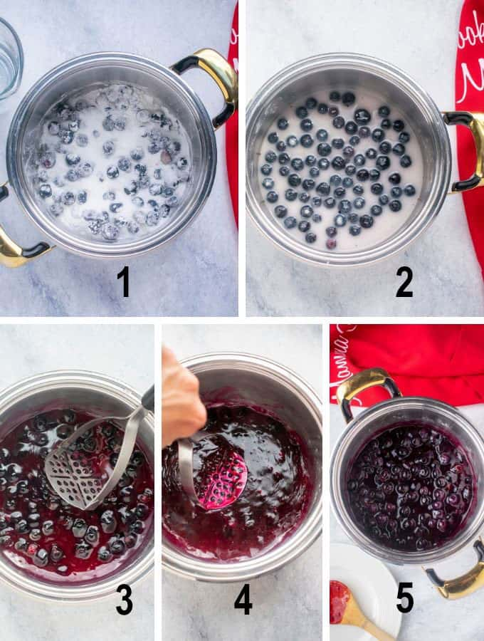 process photos for blueberry filling