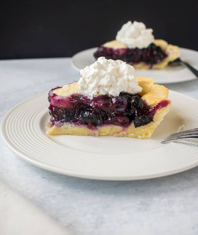 two slices of blueberry pie with whipped cream