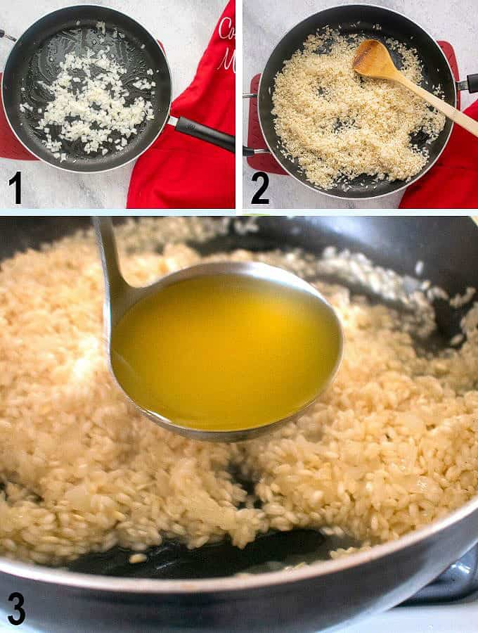 onions in pan, dry rice in pan, ladle of broth over rice in pan
