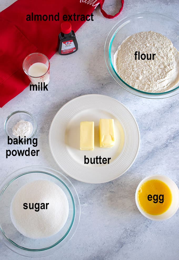 flour, butter, sugar, milk, ingredients