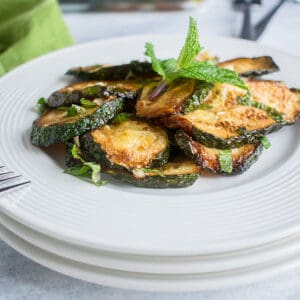 frontal view of zucchini with mint