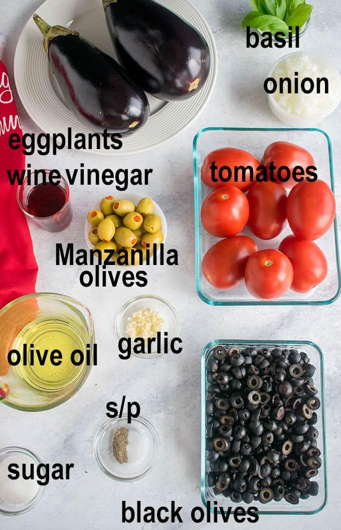 eggplants, tomatoes, olives, ingredients