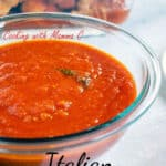 pinnable image of bowl of tomato sauce