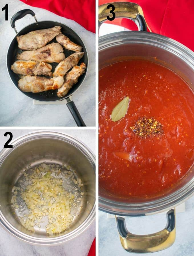 ribs in pan, garlic cooking, sauce ingredients in pot