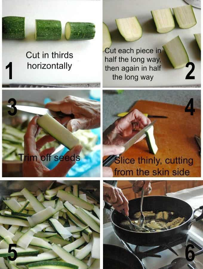 collage of cutting and frying zucchini
