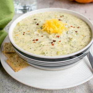 bowl of broccoli soup with cheddar