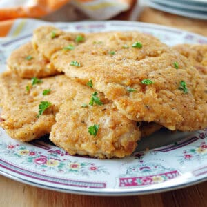 plate of breaded chicken cutlets