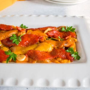 marinated red, yellow and orange bell peppers