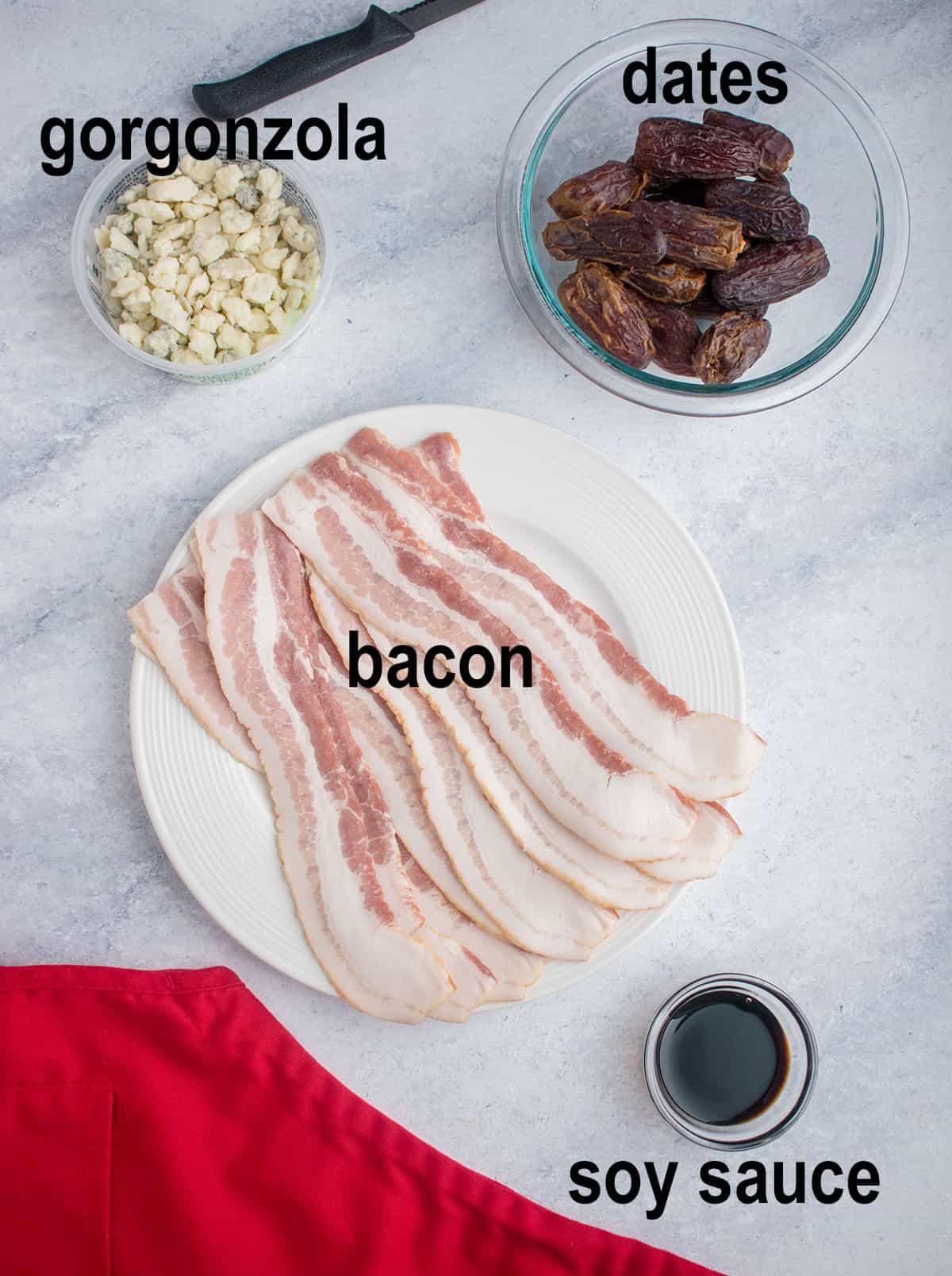 gorgonzola, dates, bacon, soy sauce