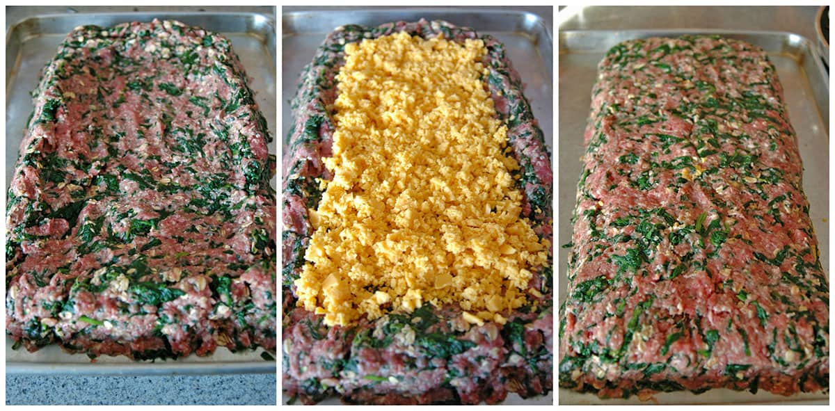 process to shape meatloaf with spinach, add cheddar and enclose