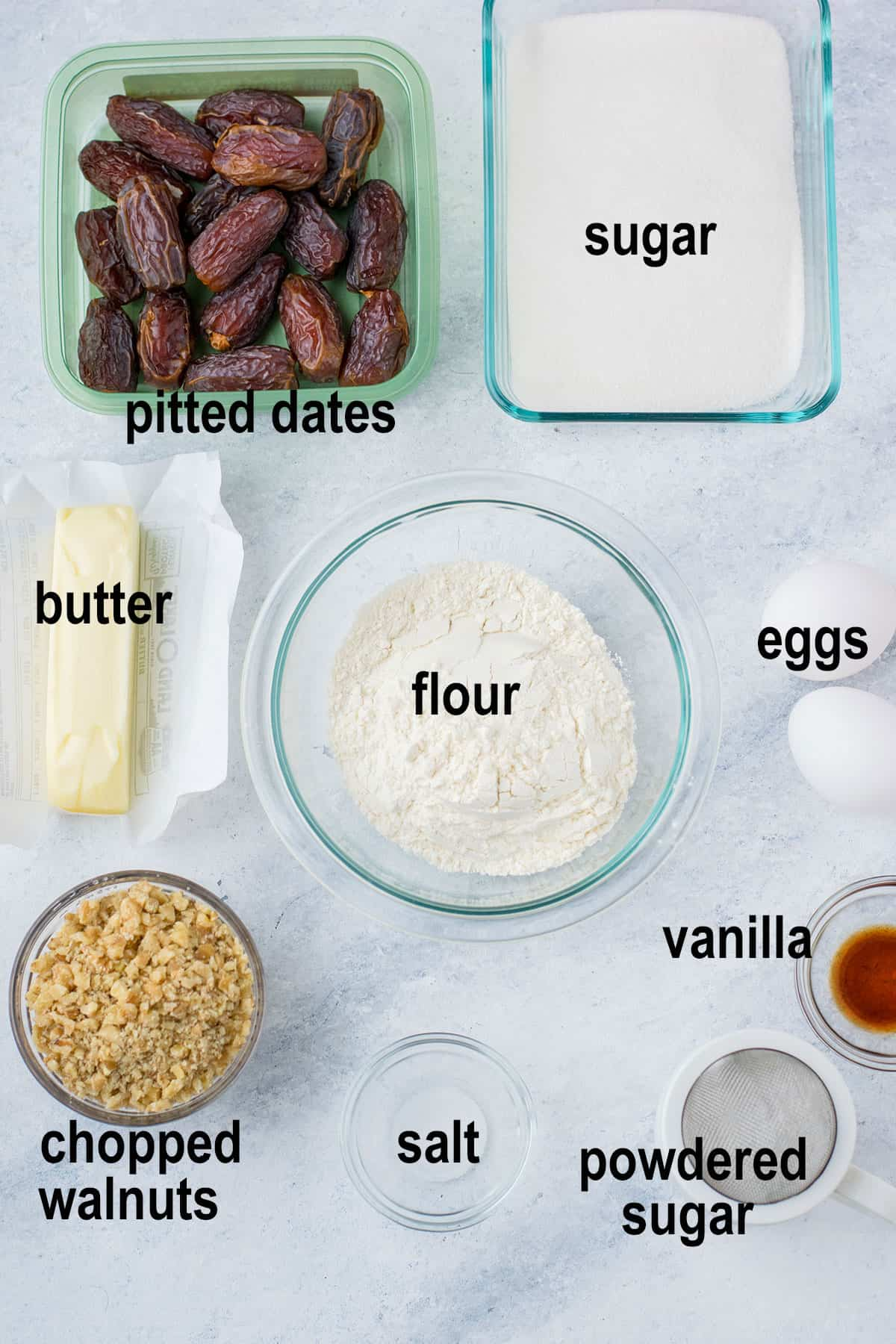 dates, sugar, butter, flour, eggs, walnuts, and ingredients