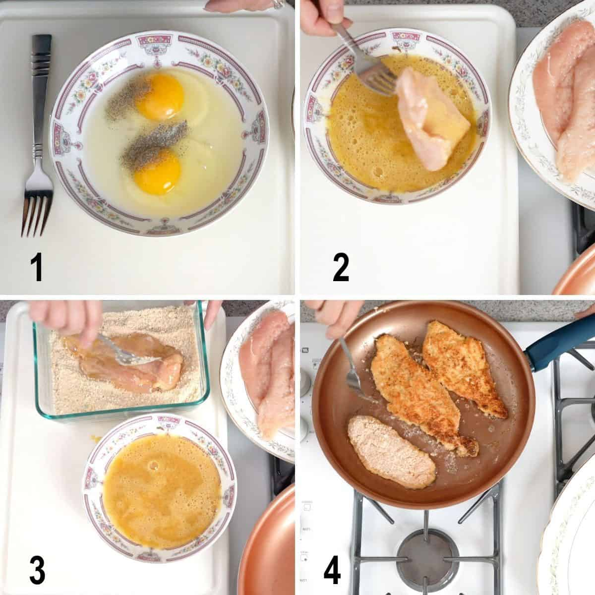 process to dip chicken in eggs, then bread crumbs, fry in pan