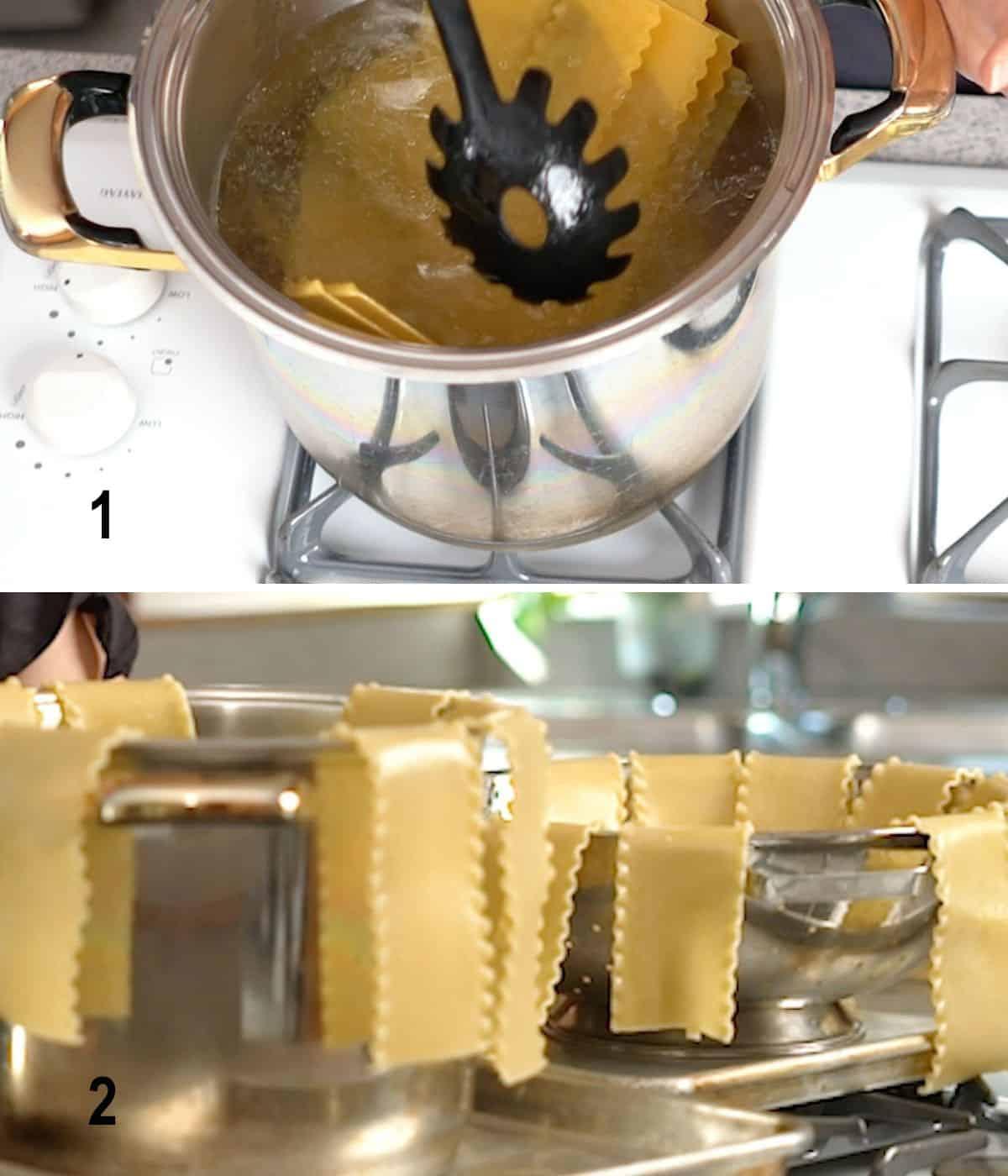 stirring lasagna noodles in pot of water,  noodles hanging over edges of pot, colander