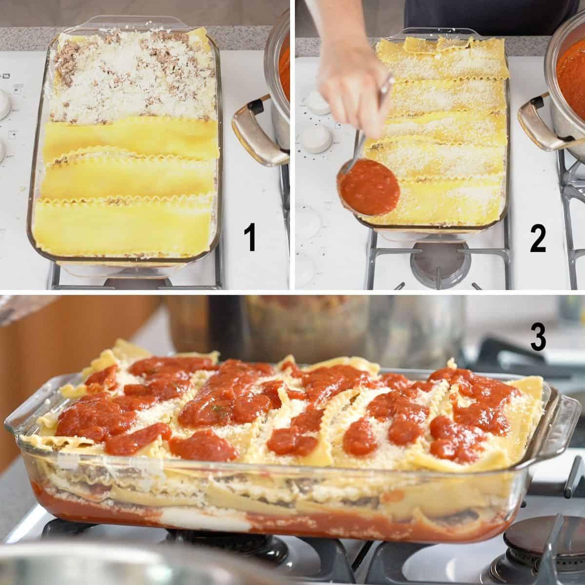 top layer of lasagna, adding sauce, assembled pan of lasagna
