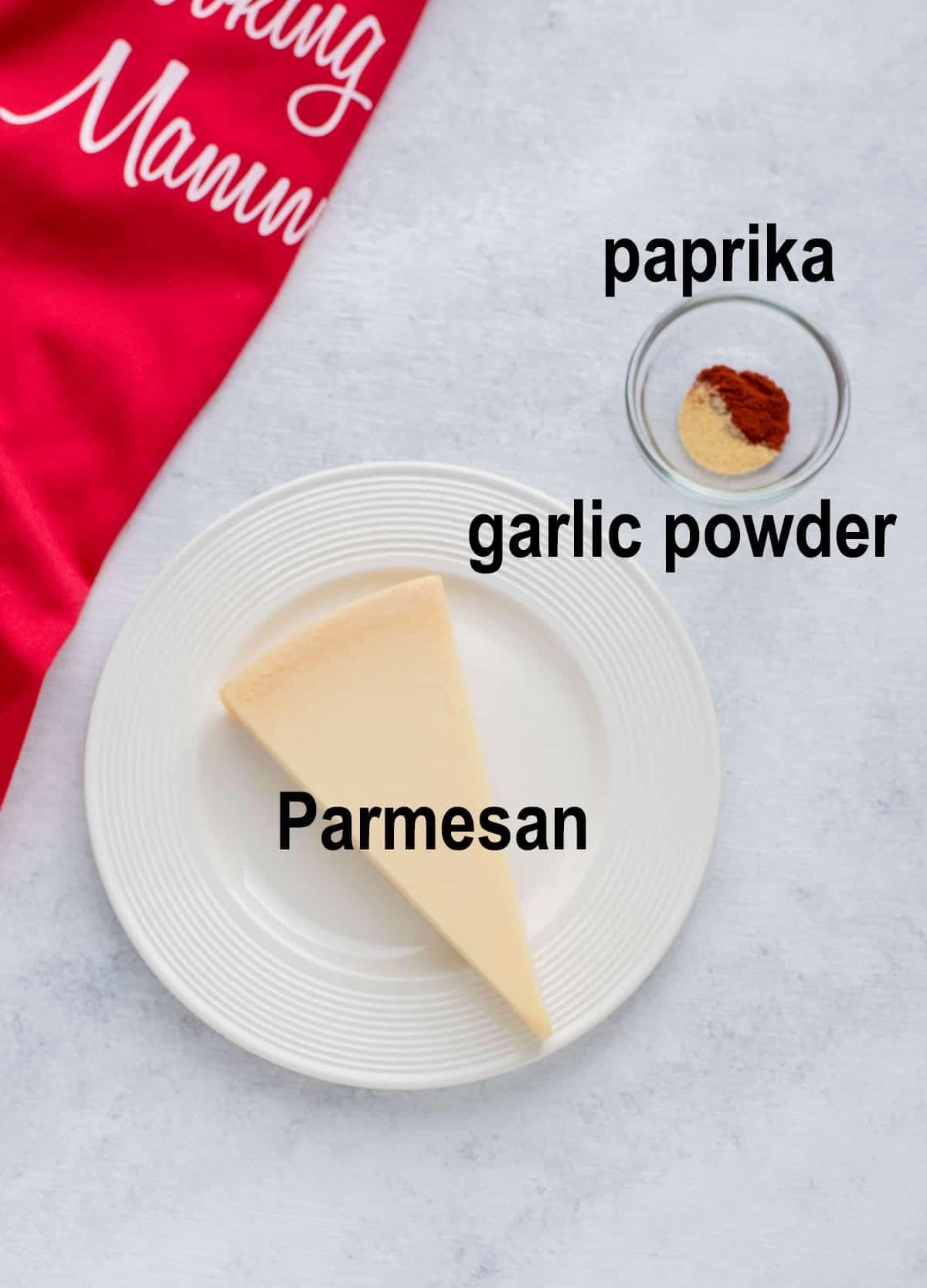 triangle of Parmesan, garlic powder, paprika