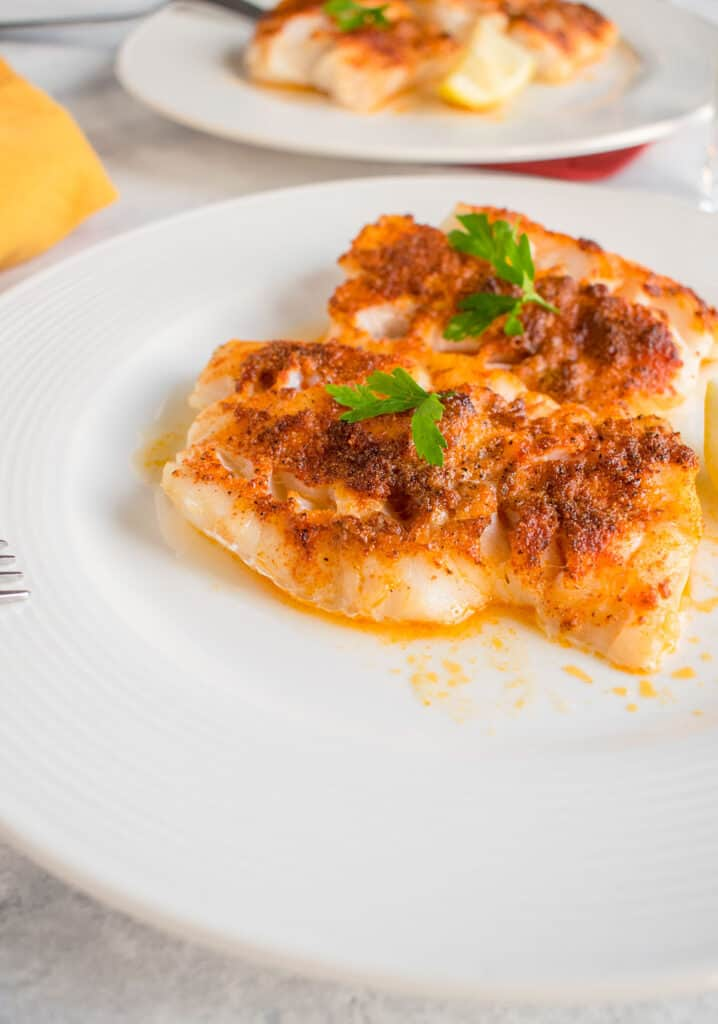 broiled cod on plate