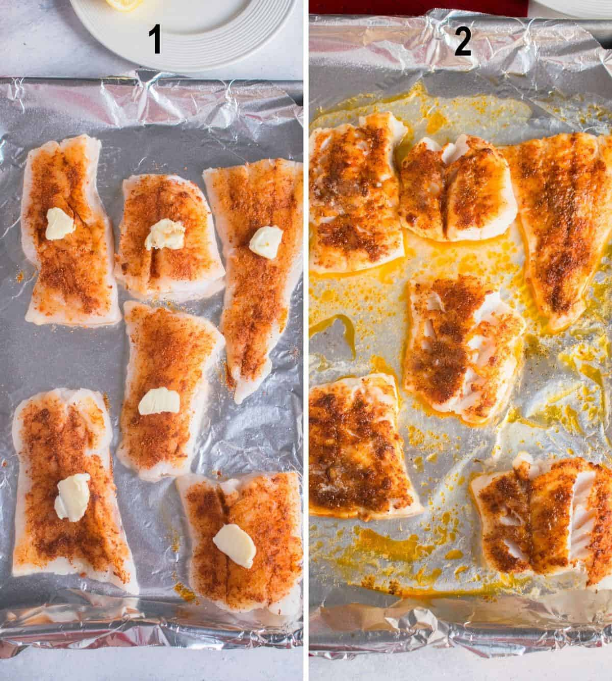 raw cod with paprika and butter on foil lined pan, broiled cod